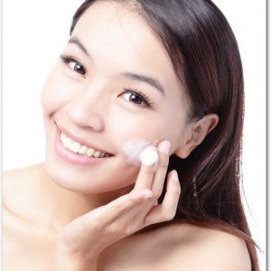 asian woman washing face for skin care