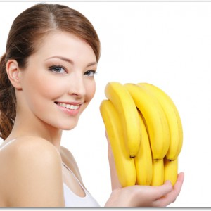 laughing woman with bananas